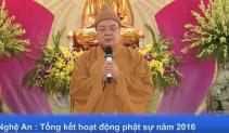 Nghệ An : Tổng kết hoạt động Phật sự năm2016